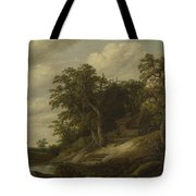 A Cottage Among Trees On The Bank Of A Stream Tote Bag
