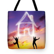 A Couple Jump And Make A House Symbol Of Light Tote Bag