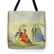 A Couple Seated And A Couple Walking On The Beach Tote Bag