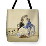 A Couple Seated On The Beach With Two Dogs Tote Bag