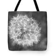 A Dandelion Black And White Tote Bag