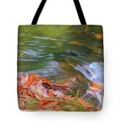 Flowing Water Fall Leaves Closeup Tote Bag