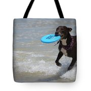 A Dog And Her Frisbee Tote Bag