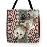 A Dog In On A Rug Tote Bag