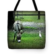 A Donkey And His Bird Tote Bag