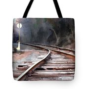 A Dreary Day On The Rail Line Tote Bag