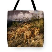 A Family Of Lions Tote Bag