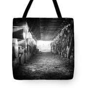 Farmer's Woodpile At Lusscroft Farm In Black And White Tote Bag