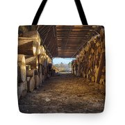 Woodpile At Lusscroft Farm In Color Tote Bag