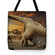 A Female Apatosaurus Laying Her Eggs Tote Bag