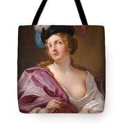 A Female Astronomer With A Globe And A Pair Of Compasses Tote Bag