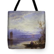 A Ferry At Sunset Tote Bag