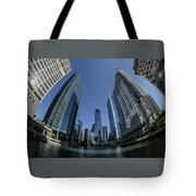 A Fisheye View Of The Chicago Skyline As You Appraoch Wolf Point Tote Bag