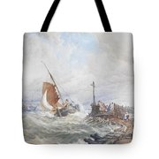 A Fishing Smack Entering Harbour Tote Bag