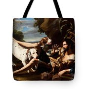 A Flask-bearer Surprised By Two Dogs In A Landscape Tote Bag