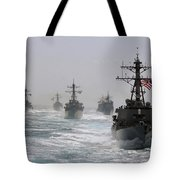 A Fleet Of Ships In Formation At Sea Tote Bag