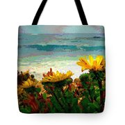 A Flowery View Of The Surf Watercolor Tote Bag