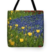 A Garden Of Colorful Tulips And Grape Tote Bag