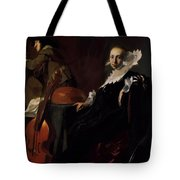 A Gentleman And A Lady With Musical Instruments Tote Bag