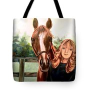 Wide Eyed Girl And Her Horse Tote Bag