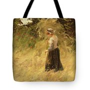 A Girl Harvesting Hay Tote Bag