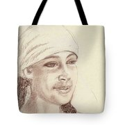 A Girl In A Scarf Tote Bag