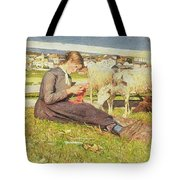 A Girl Knitting Tote Bag by Giovanni Segantini