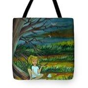 A Girl Near The Pond Tote Bag