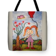 A Girl With A Balloon Tote Bag