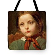 A Girl With A Red Scarf Tote Bag