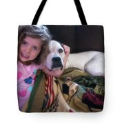 A Girlie-girl And Her Dog Tote Bag