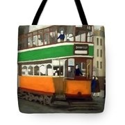 A Glasgow Tram With Figures And Tenement Tote Bag