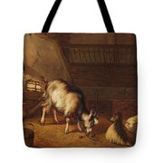A Goat And Two Sheep In A Stable Tote Bag