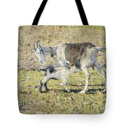 A Goat With Her Kid Tote Bag