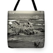 A Good Day Fishing On Monterey Bay In Black And White Tote Bag