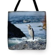A Great Blue Heron At The Spokane River Tote Bag