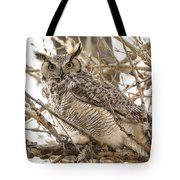 A Great Horned Owl's Wide Eyes Tote Bag