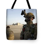 A Green Beret Waits To Have His Gear Tote Bag