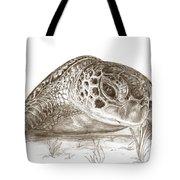 A Green Sea Turtle In Earthtones Tote Bag