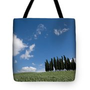 A Group Of Cypress Trees Dot A Tuscan Tote Bag