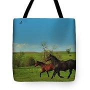 A Hawk And Horses In Kansas Tote Bag