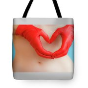A Heart Of Red Leather Tote Bag