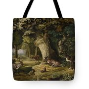 A Herd Of Stag And A Fawn In A Woodland Landscape Tote Bag