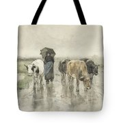 A Herdess With Cows On A Country Road In The Rain Tote Bag
