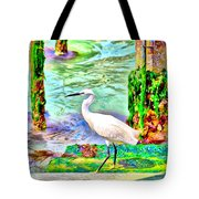 a heron is walking on a stair about the Grand Canal Tote Bag