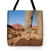 A Hiker Admires The Sunrise Light Tote Bag