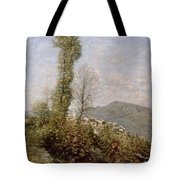 A Hillside Village In Provence Henry Herbert La Thangue Tote Bag