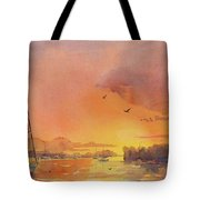 A Hingham Sunset Tote Bag by Laura Lee Zanghetti