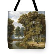 A Hunter And An Angler In A Wooded Landscape Tote Bag