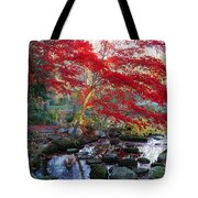 A Japanese Maple With Colorful, Red Tote Bag